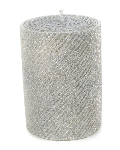 Silver Shimmer Pillar Candle