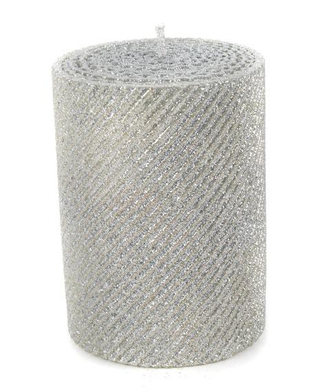 Silver Shimmer Pillar Candle
