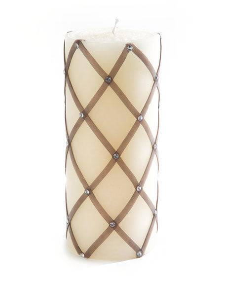 Silver Sparkly Fishnet Pillar Candle