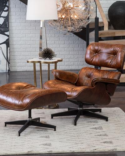 Barca Leather Lounge Chair & Ottoman