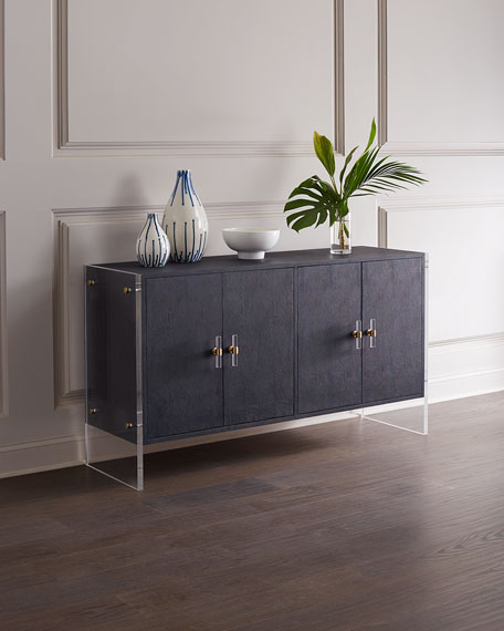 Kandace 4-Door Faux Shagreen Cabinet