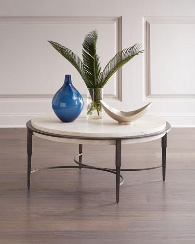 Barclay Round Travertine Coffee Table
