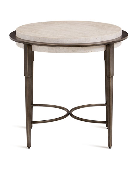 Barclay Round Travertine Chair-Side Table