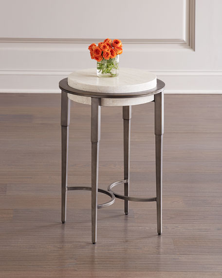 Barclay Round Travertine Drink Table