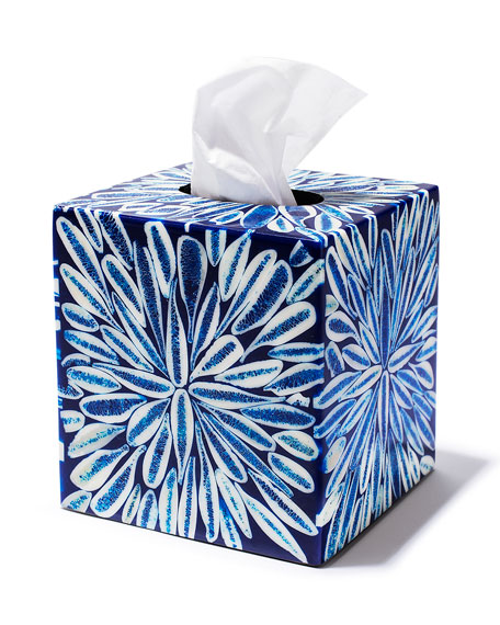 LADORADA Blue Almendro Tissue Box Cover