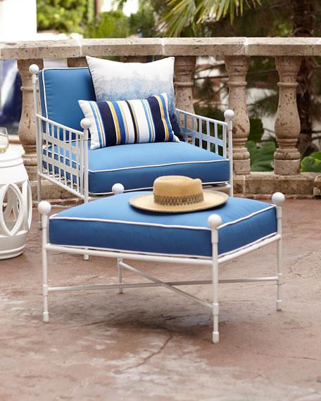 Avery Ottoman, White/Blue
