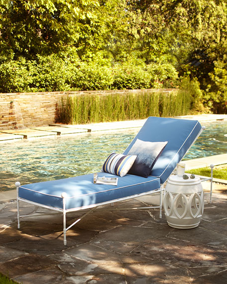 Neiman Marcus Avery Chaise, White/Blue