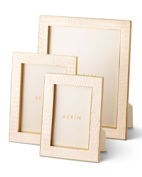 AERIN Classic Croc Leather Frame, 5