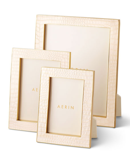 AERIN Classic Croc Leather Frame, 8