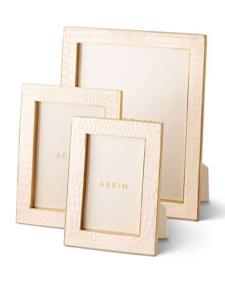 AERIN Classic Croc Leather Frame, 4