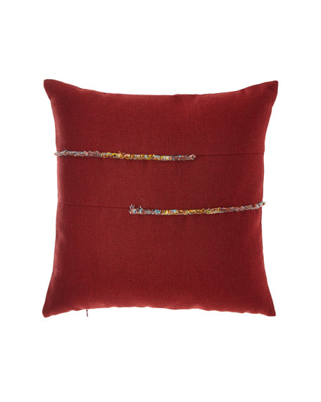 Micro Fringe Bordeaux Indoor/Outdoor Pillow