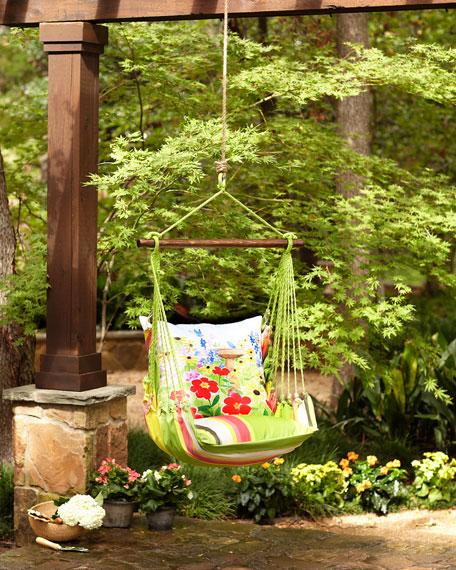 Fresh Lime Stripe Swing Chair