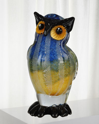 Big Owl Art Glass Sculpture