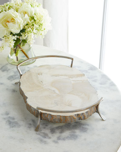 Fossilized Clam Oval Tray
