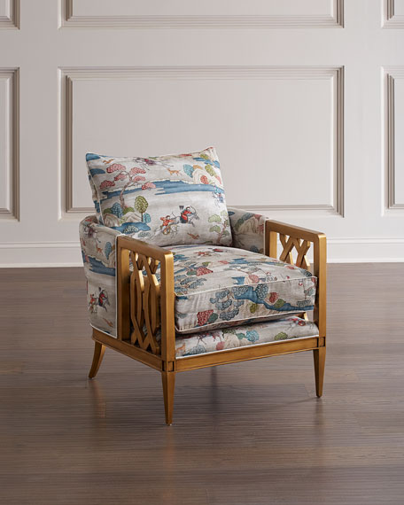 John-Richard Collection Lucio Gold Finish Club Chair
