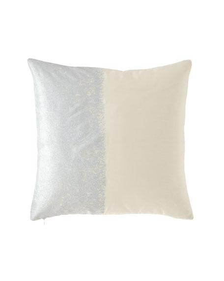 Metallic Texture Ivory/Silver Decorative Pillow