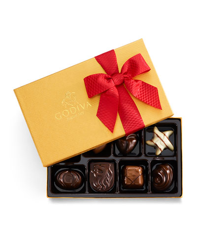 8-Piece Holiday Gold Ballotin Chocolate Gift Box