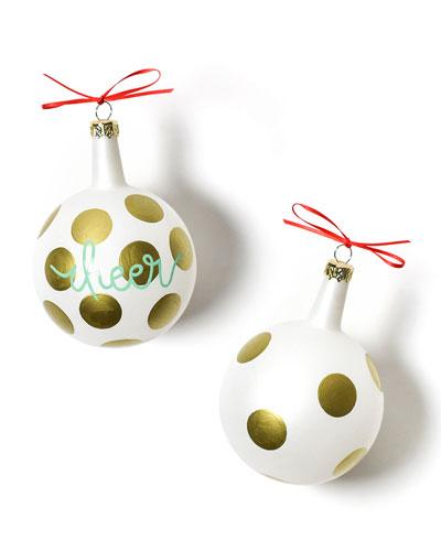Christmas Spirits Cheer Vintage Glass Ornament