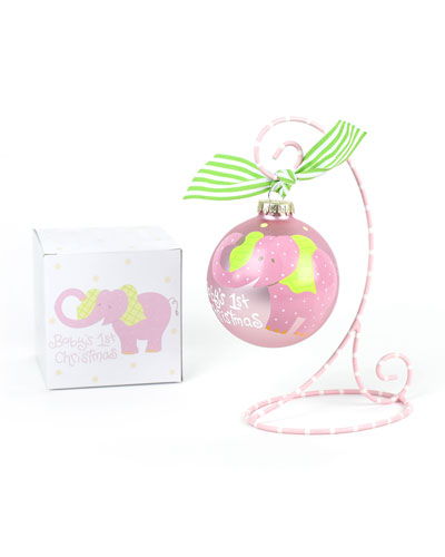 Baby's First Christmas Elephant Ornament  Girl