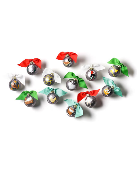 12 Days of Christmas Glass Ornaments Set