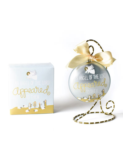 The Birth of Christ Luke 2:9 Glass Ornament with Stand
