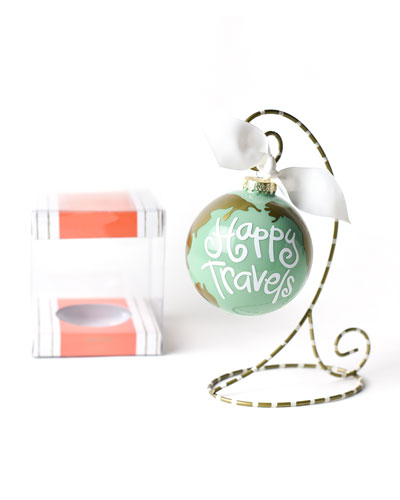 Happy Travels Glass Ornament with Stand
