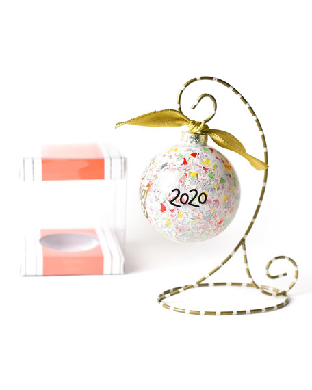 Happy Everything Confetti Glass Ornament with Stand