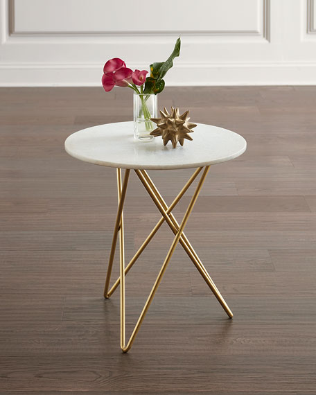 Galaxy White Marble Accent Table