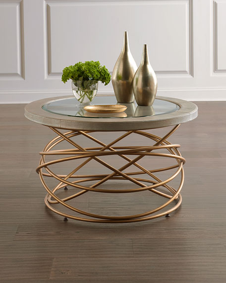 Zabe Leather & Metal Coffee Table
