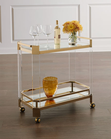 Corinth Acrylic & Gold Serving Cart