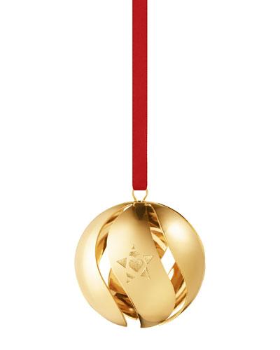 18K Gold Plate Christmas Ball Ornament