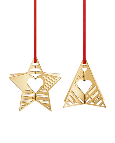18K Gold Plate Star & Tree Holiday Ornaments