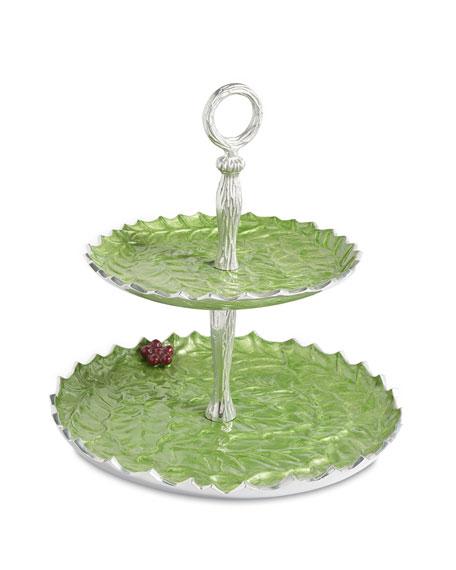 "Holly Sprig 11.5"" Two-Tiered Server"