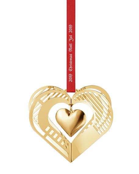18K Gold Plate Christmas Mobile Heart Ornament