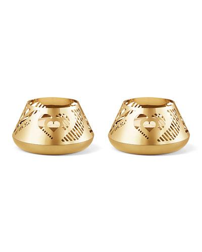 18K Gold Plate Heart Tea Lights  Set of 2