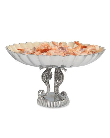 "Sea Horse 14"" Pedestal Bowl"