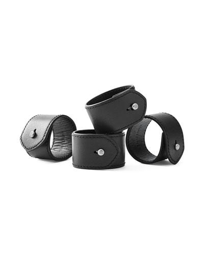 Wyatt Leather Napkin Rings  Set of 4