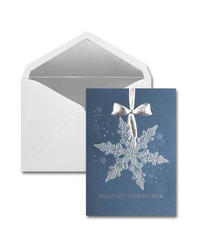 25 Silver Snowflake Greeting Cards with Blank Envelopes