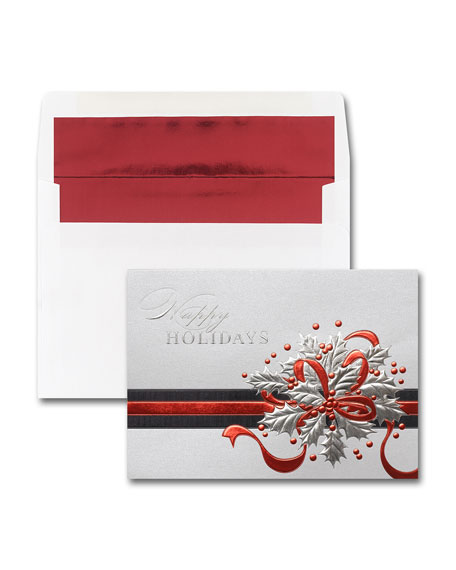 Carlson Craft 25 Shimmering Holly Greeting Cards with