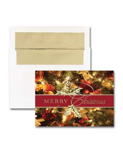 25 Stunning Christmas Greeting Cards with Printed Envelopes