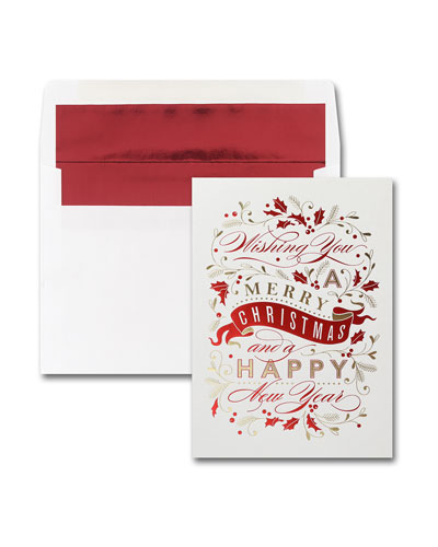 25 Merry Christmas Banner Greeting Cards with Printed Envelopes