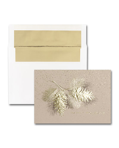 25 Rustic Pine Elegance Greeting Cards with Printed Envelopes