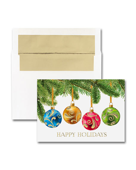 25 Ornament Wrap Greeting Cards with Blank Envelopes