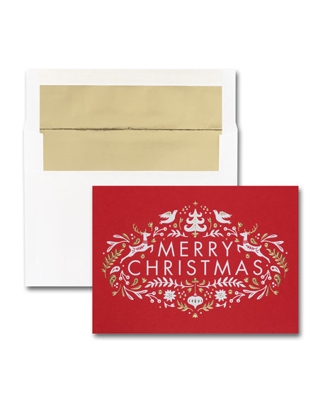 Carlson Craft 25 Nordic Merry Christmas Greeting Cards