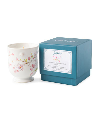 Berry Thread Floral Sketch Spring Blossom Candle