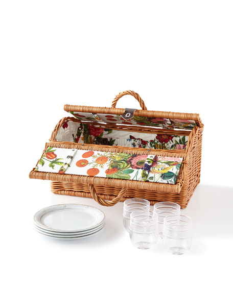 Juliska Picnic Basket with Field of Flowers Lining