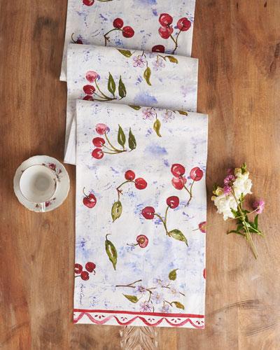 Cherries Watercolor Table Runner