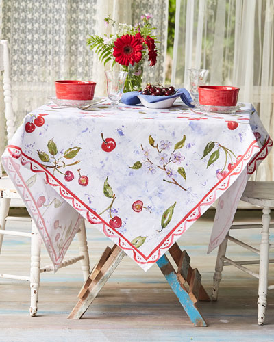 Cherries Watercolor Dining Tablecloth