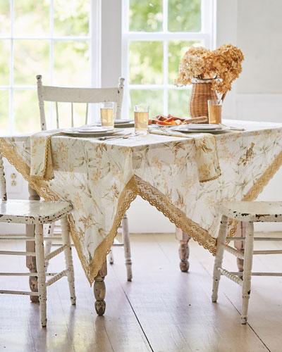 Bamboo Garden Linen Dining Tablecloth