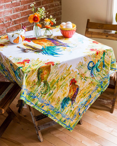 Watercolor Rooster Breakfast Tablecloth